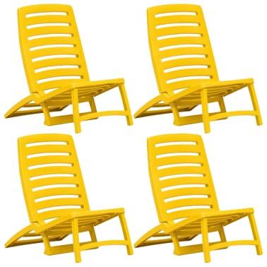 vidaXL Folding Beach Chair 4 pcs Plastic Yellow[1/6]