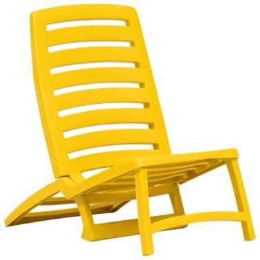 vidaXL Folding Beach Chair 4 pcs Plastic Yellow[2/6]