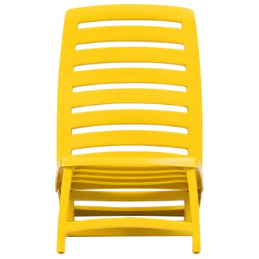vidaXL Folding Beach Chair 4 pcs Plastic Yellow[3/6]