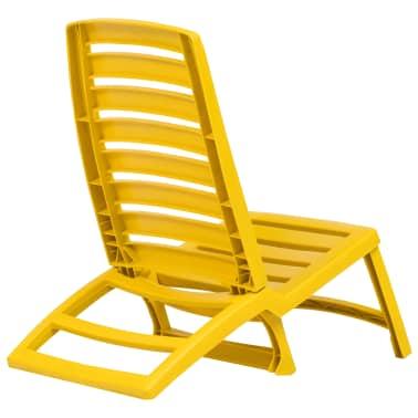 vidaXL Folding Beach Chair 4 pcs Plastic Yellow[4/6]