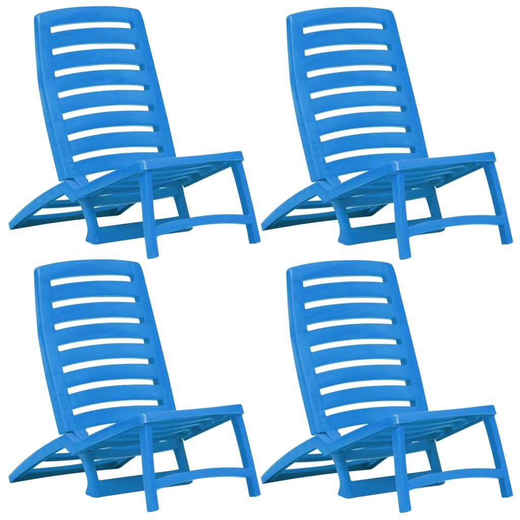 vidaXL Dětské skládací plážové židle 4 ks plastové modré