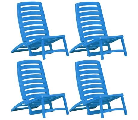 vidaXL Kids' Folding Beach Chair 4 pcs Plastic Blue