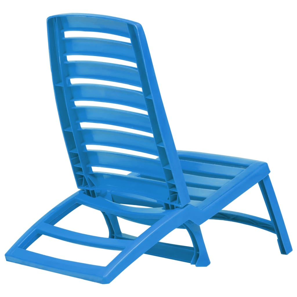 Pliable Pcs De Vidaxl Plage Plastique Bleu 4 Détails Chaise Sur v8OnwmN0
