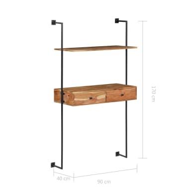 "vidaXL Wall Desk 35.4""x15.7""x66.9"" Solid Acacia Wood[8/11]"