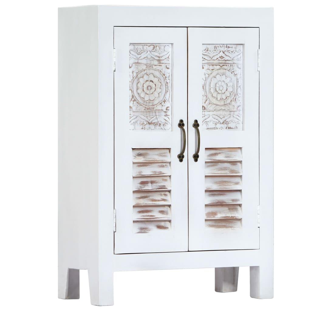 vidaXL Servantă sculptată, alb, 60 x 30 x 89 cm, lemn masiv de mango vidaxl.ro