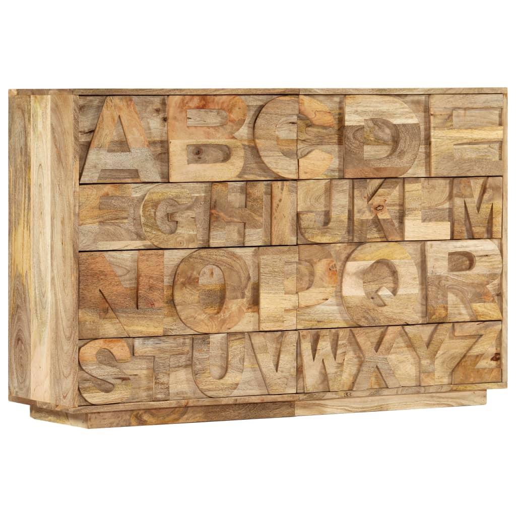 vidaXL Συρταριέρα με Σχέδιο Αλφάβητου 120x35x79 εκ. Μασίφ Ξύλο Μάνγκο