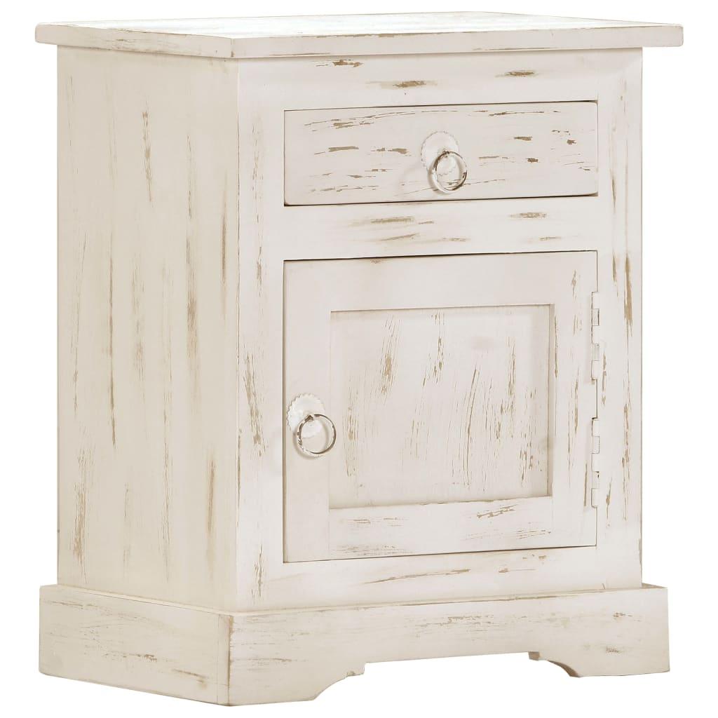 vidaXL Noptieră, alb, 40x30x50 cm, lemn masiv de mango imagine vidaxl.ro