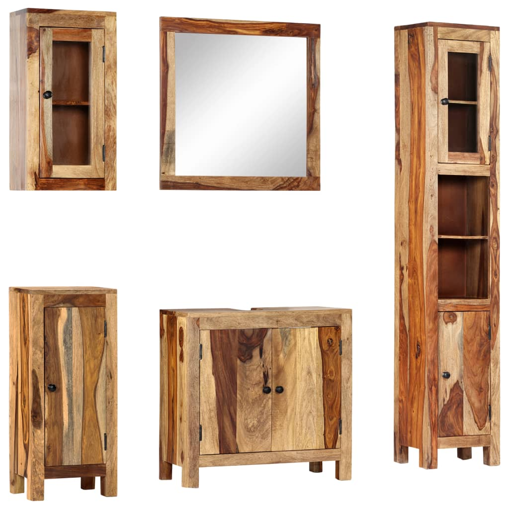 vidaXL Set mobilier de baie, 5 piese, lemn masiv de sheesham poza 2021 vidaXL
