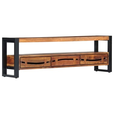"vidaXL TV Cabinet 55.1""x11.8""x17.7"" Solid Acacia Wood[12/12]"