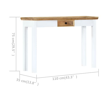 """vidaXL Console Table White and Brown 43.3""""x13.7""""x29.5"""" Solid Mango Wood[7/11]"""