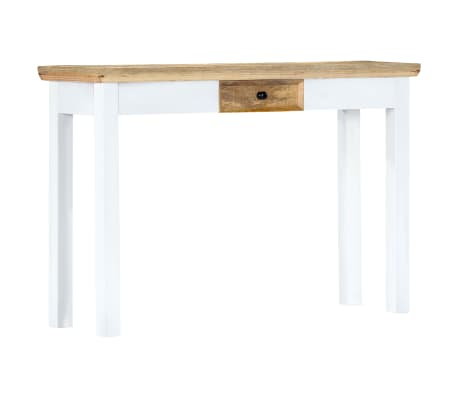 """vidaXL Console Table White and Brown 43.3""""x13.7""""x29.5"""" Solid Mango Wood[8/11]"""