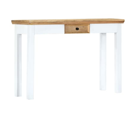 """vidaXL Console Table White and Brown 43.3""""x13.7""""x29.5"""" Solid Mango Wood[9/11]"""