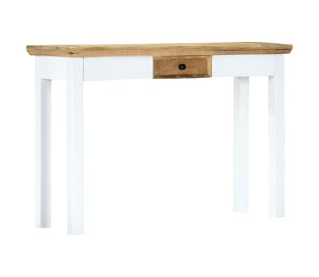 """vidaXL Console Table White and Brown 43.3""""x13.7""""x29.5"""" Solid Mango Wood[10/11]"""