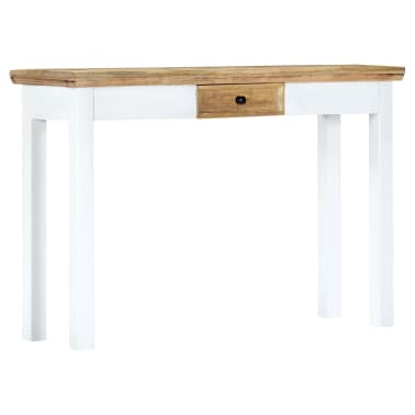 """vidaXL Console Table White and Brown 43.3""""x13.7""""x29.5"""" Solid Mango Wood[11/11]"""