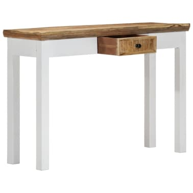"""vidaXL Console Table White and Brown 43.3""""x13.7""""x29.5"""" Solid Mango Wood[3/11]"""