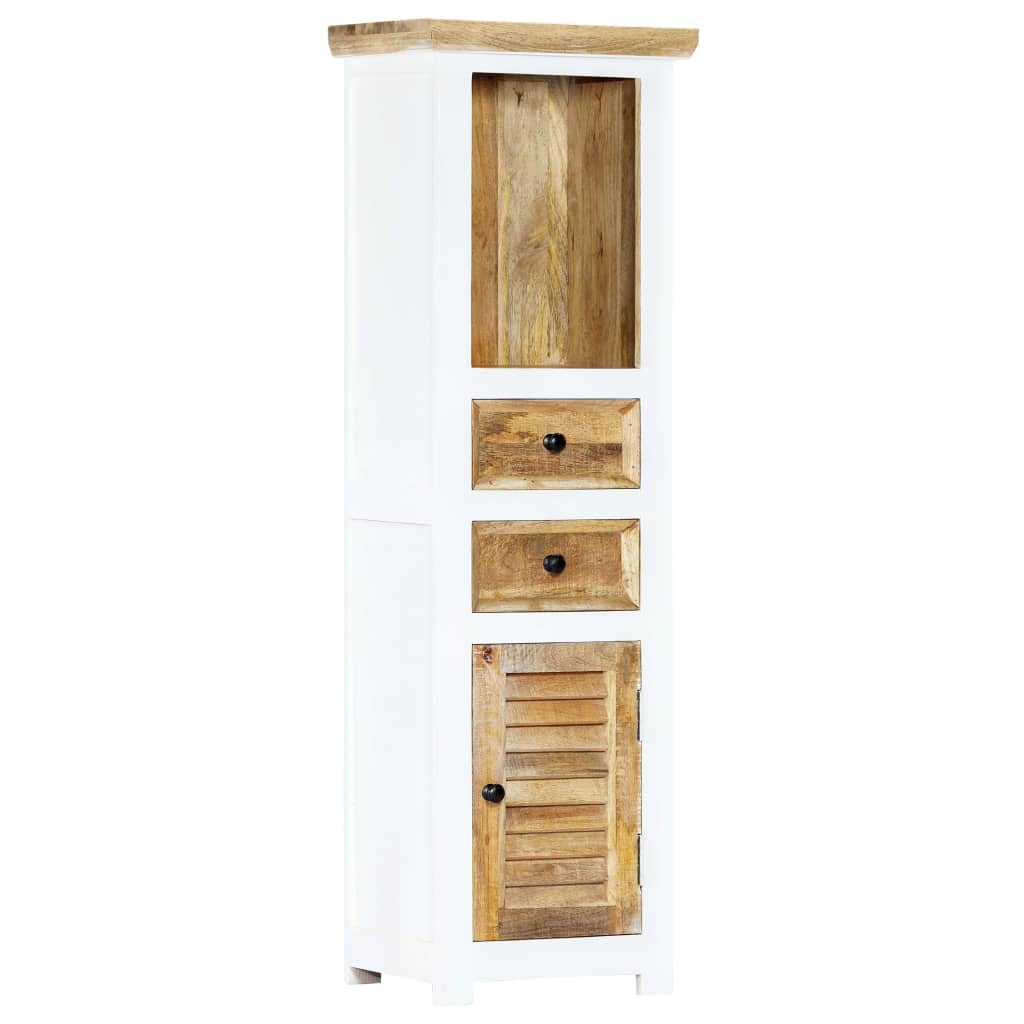 vidaXL Dulap înalt, alb & maro, 40x30x128 cm, lemn masiv de mango imagine vidaxl.ro