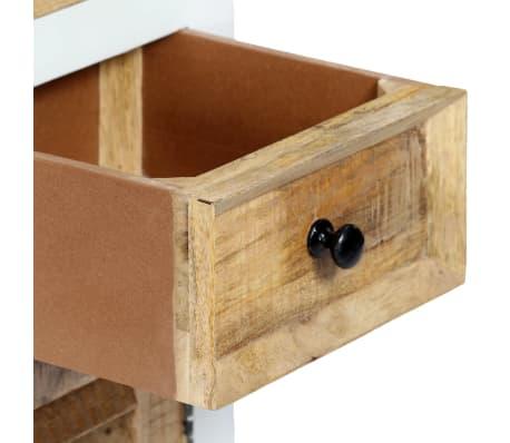vidaXL Buffet Blanc et marron 40x30x128cm Bois de manguier solide brut[6/12]
