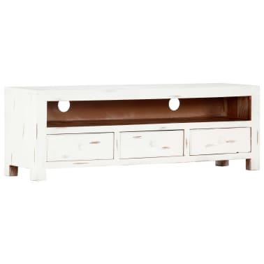 "vidaXL TV Cabinet White 47.2""x11.8""x15.7"" Solid Acacia Wood[1/15]"