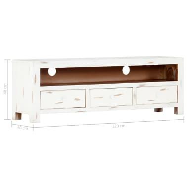 "vidaXL TV Cabinet White 47.2""x11.8""x15.7"" Solid Acacia Wood[10/15]"