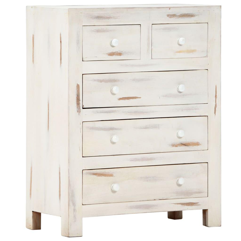 vidaXL Komoda, biała, 58 x 30 x 75 cm, lite drewno akacjowe