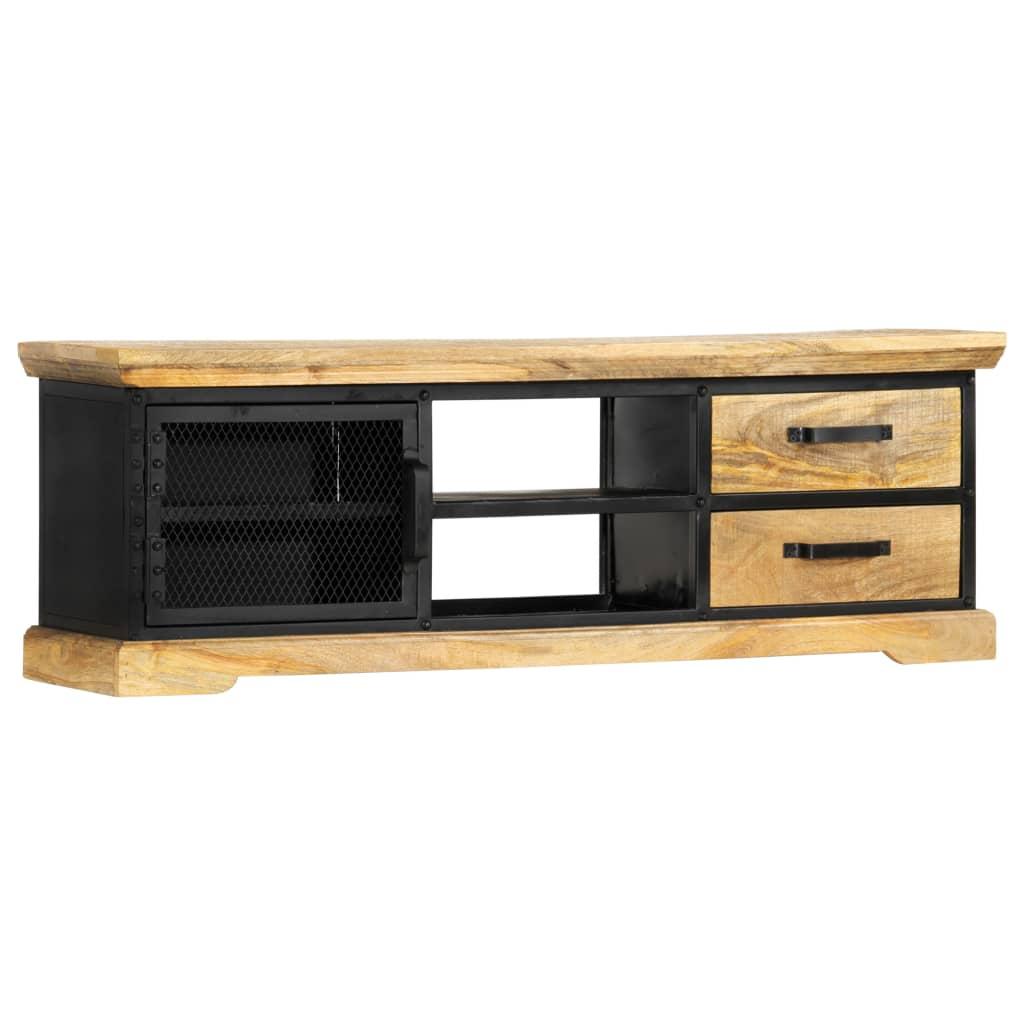vidaXL Comodă TV, negru, 120 x 30 x 40 cm, lemn masiv de mango imagine vidaxl.ro