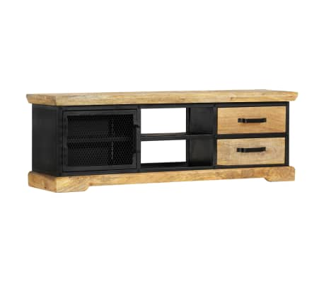 vidaXL Tv-meubel 120x30x40 cm massief mangohout zwart[11/13]