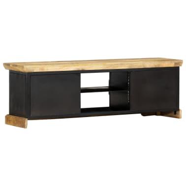 vidaXL Tv-meubel 120x30x40 cm massief mangohout zwart[3/13]