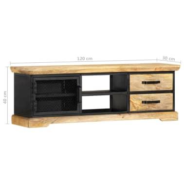 vidaXL Tv-meubel 120x30x40 cm massief mangohout zwart[9/13]