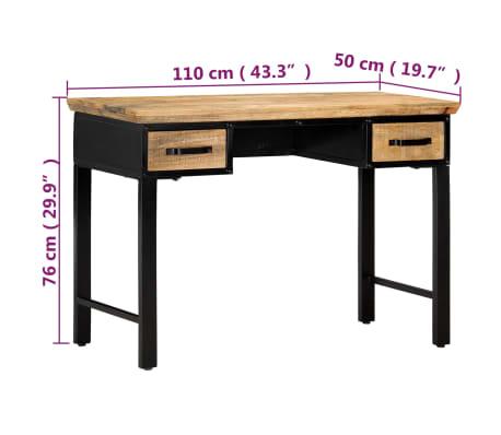 vidaXL Table d'écriture 110 x 50 x 76 cm Bois de manguier massif[7/11]
