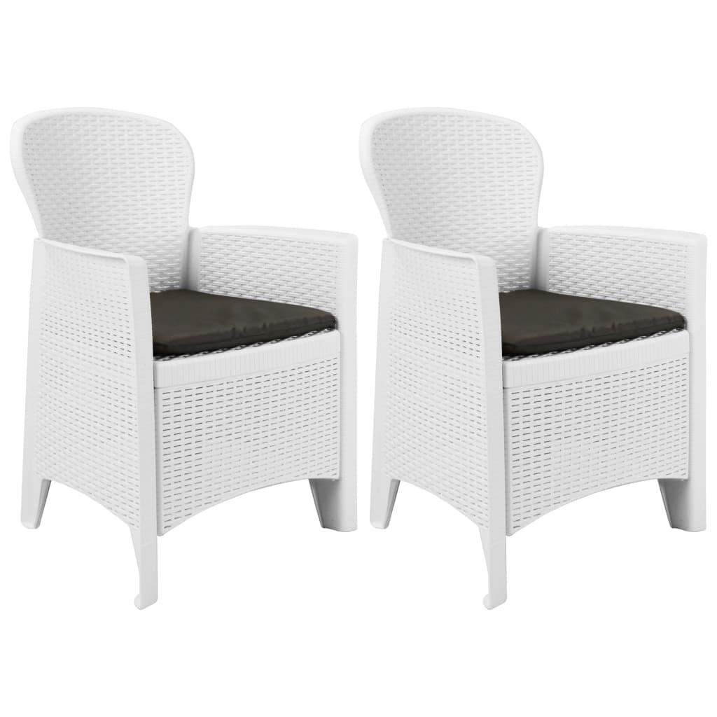vidaXL Chaise de jardin 2 pcs et coussin Blanc Plastique Aspect rotin