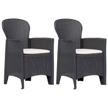 1f2cc3fae3a27 vidaXL Záhradné stoličky 2 ks hnedé plastové s vankúšmi ratanový vzhľad[1/7]