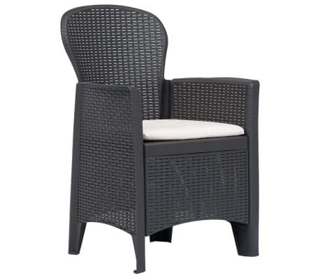0e1175953e888 vidaXL Záhradné stoličky 2 ks hnedé plastové s vankúšmi ratanový vzhľad[2/7]