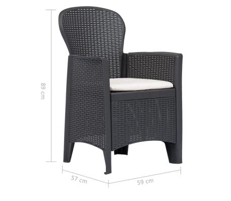 1d92ca375cbb2 vidaXL Záhradné stoličky 2 ks hnedé plastové s vankúšmi ratanový vzhľad[7/7]