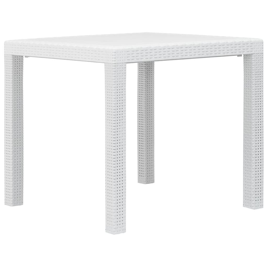 vidaXL Τραπέζι Κήπου Λευκό 79x79x72 εκ. Πλαστικό με Εμφάνιση Ρατάν