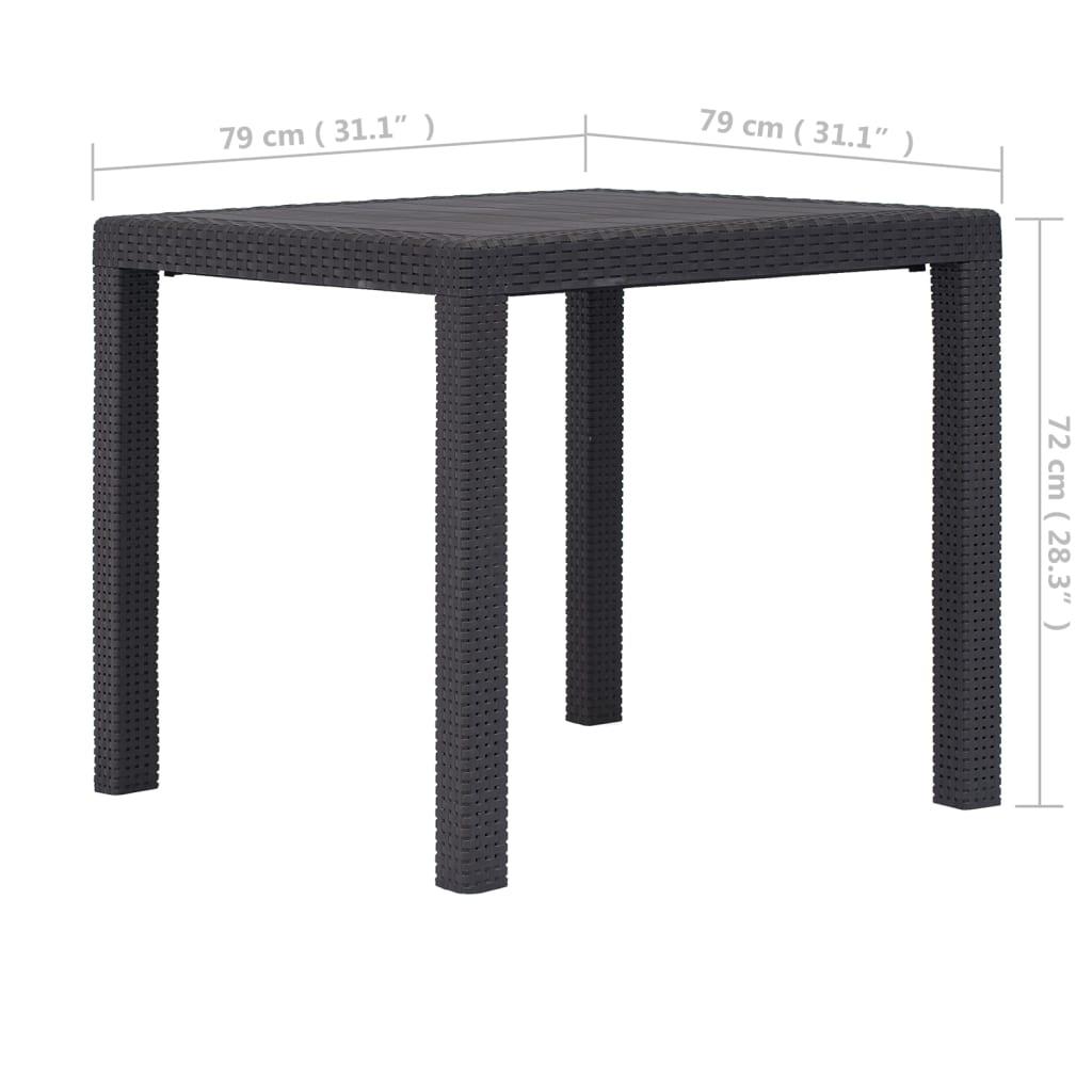 VIDAXL TABLE DE Jardin Marron 79x79x72 cm Plastique Aspect Rotin ...