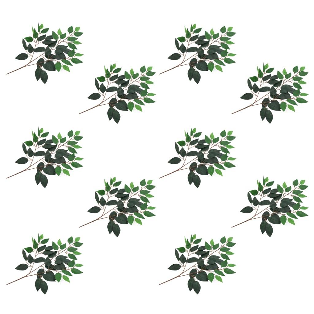 Umělé listy fíkus 10 ks zelené 65 cm