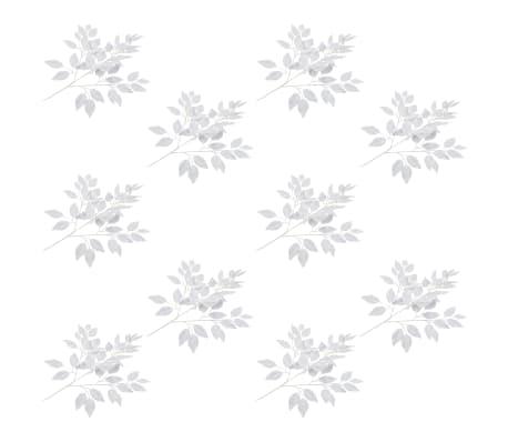 vidaXL 10 pcs Feuilles artificielles de ficus Blanc 65 cm