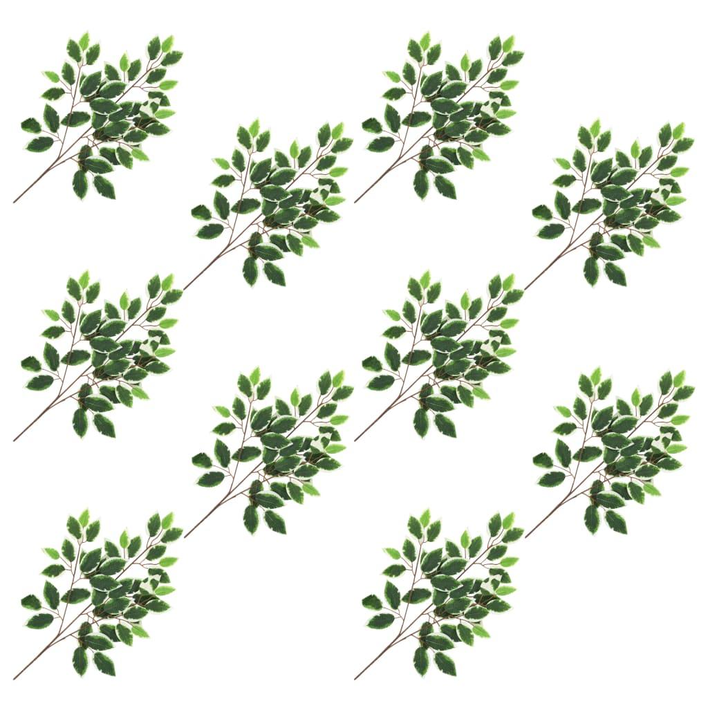 Umělé listy fíkus 10 ks zeleno-bílé 65 cm