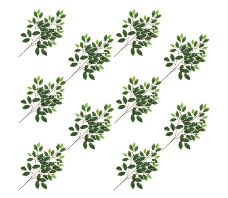 vidaXL Sztuczne gałązki fikusa, 10 szt., zielono-białe, 65 cm