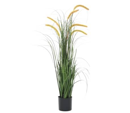 vidaXL Umetna rastlina trava s širokolistnim rogozom 110 cm