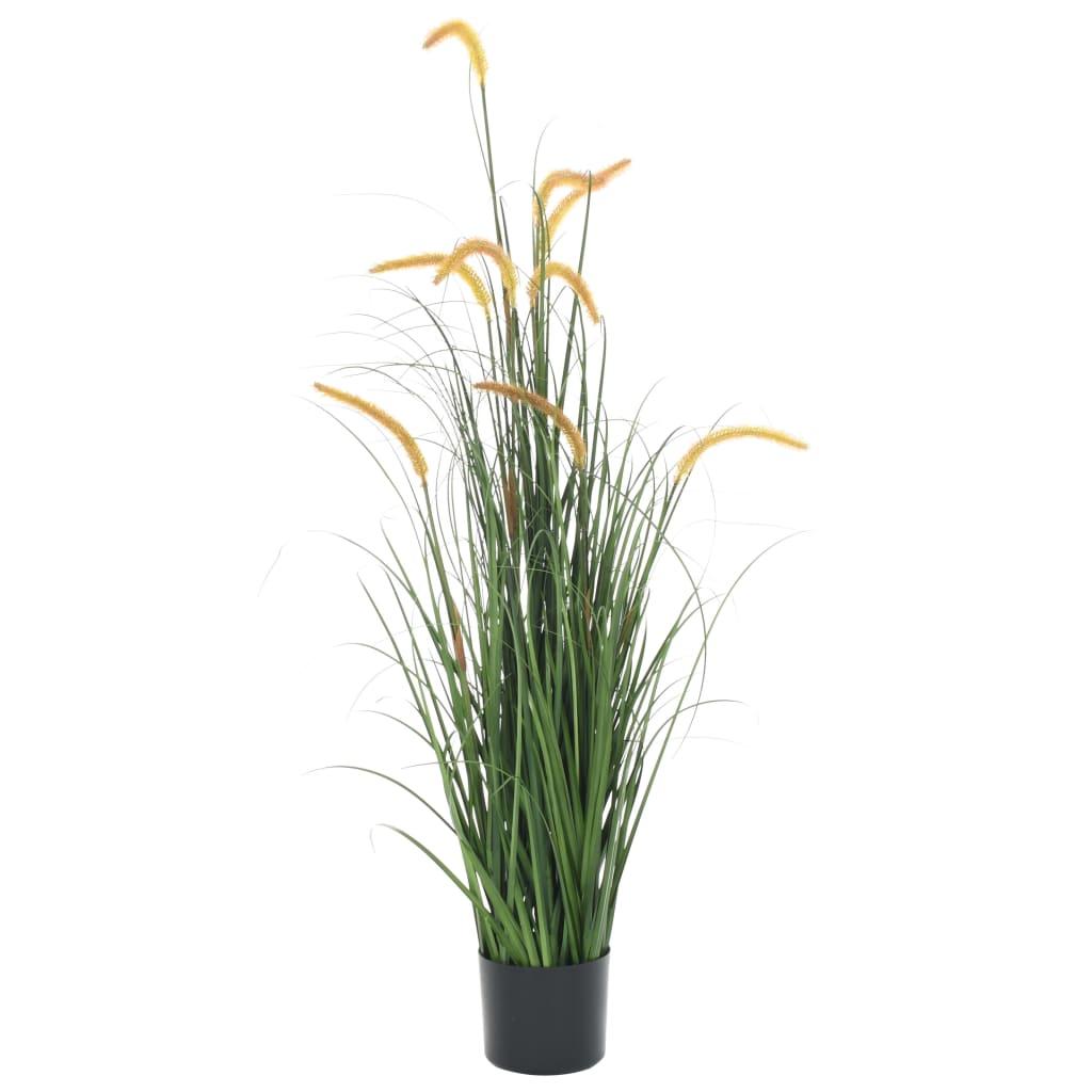 vidaXL Plantă iarbă artificială în ghiveci cu papură, 135 cm imagine vidaxl.ro