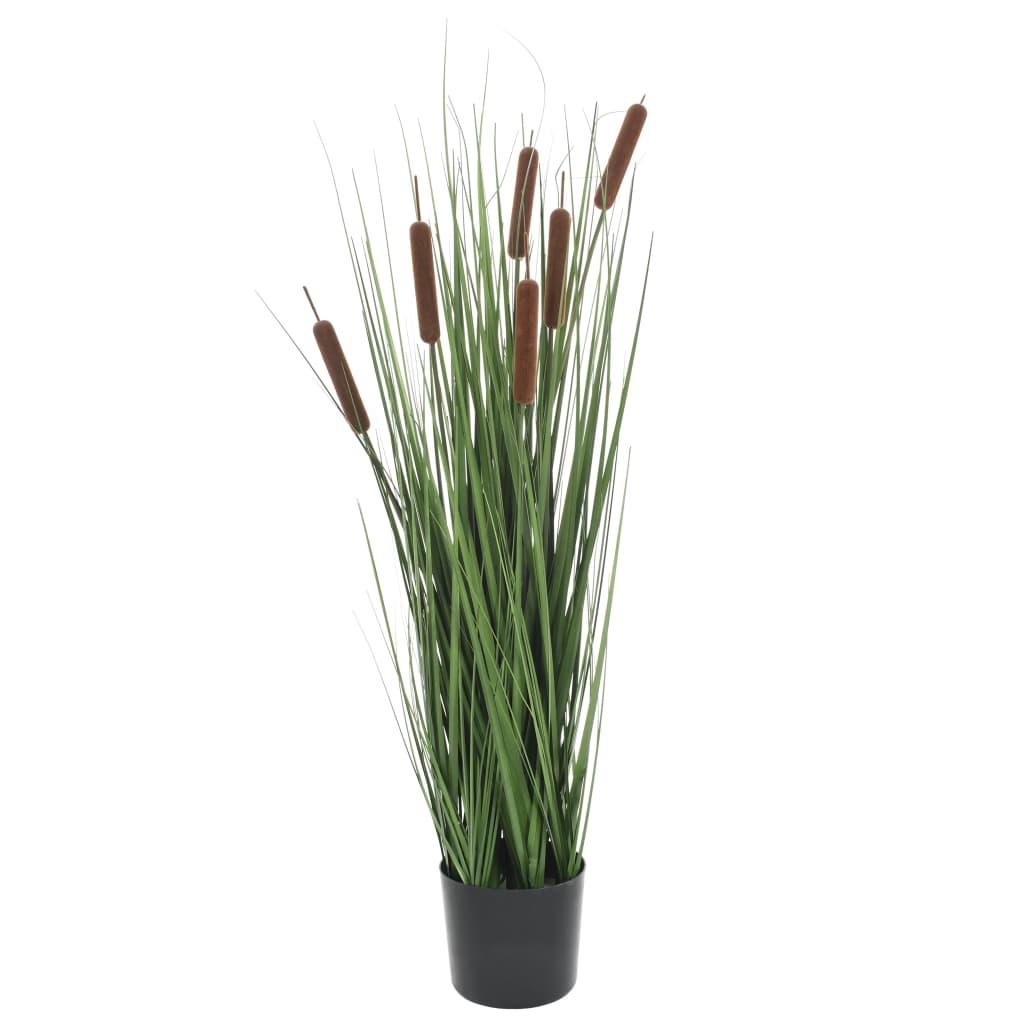 vidaXL Plantă iarbă artificială în ghiveci cu papură, 85 cm imagine vidaxl.ro