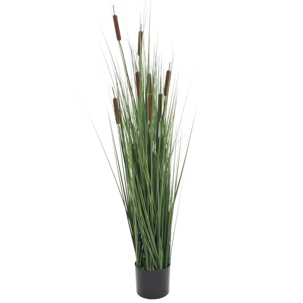 vidaXL Plantă iarbă artificială în ghiveci cu papură, 120 cm imagine vidaxl.ro