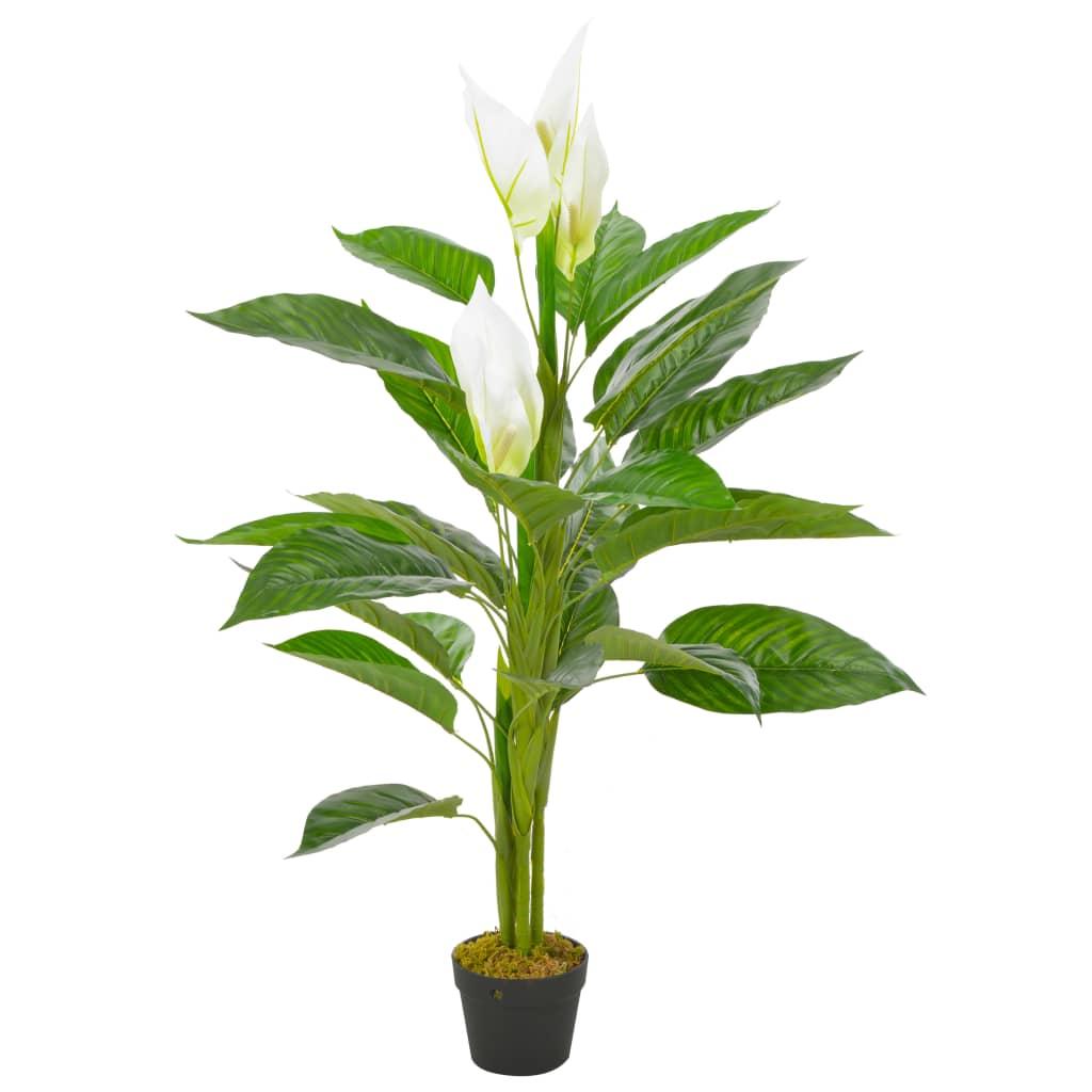 vidaXL Plantă artificială Anthurium cu ghiveci, alb, 115 cm imagine vidaxl.ro