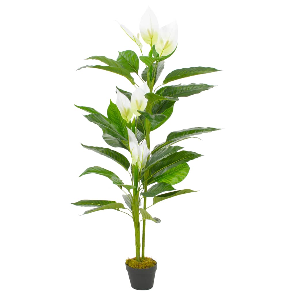 vidaXL Plantă artificială Anthurium cu ghiveci, alb, 155 cm imagine vidaxl.ro