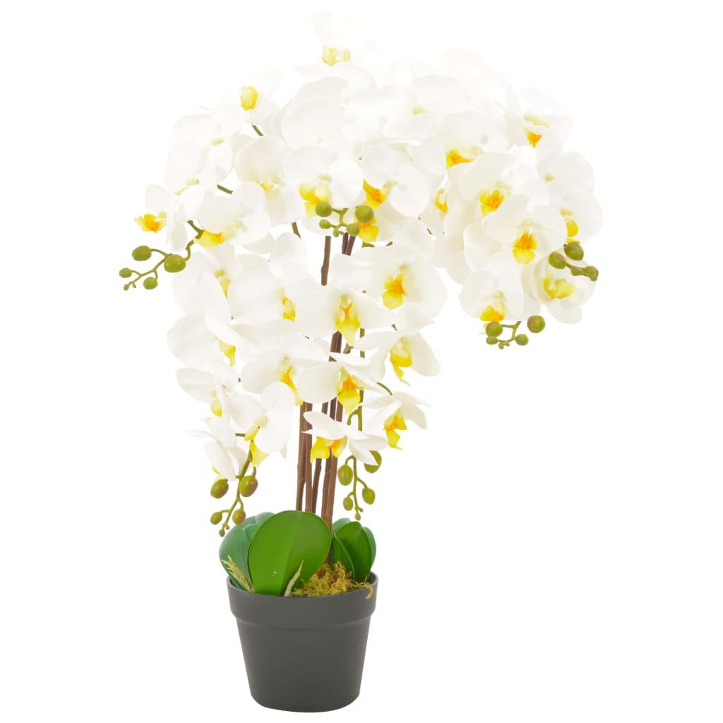 vidaXL Plantă artificială orhidee cu ghiveci, alb, 60 cm poza 2021 vidaXL