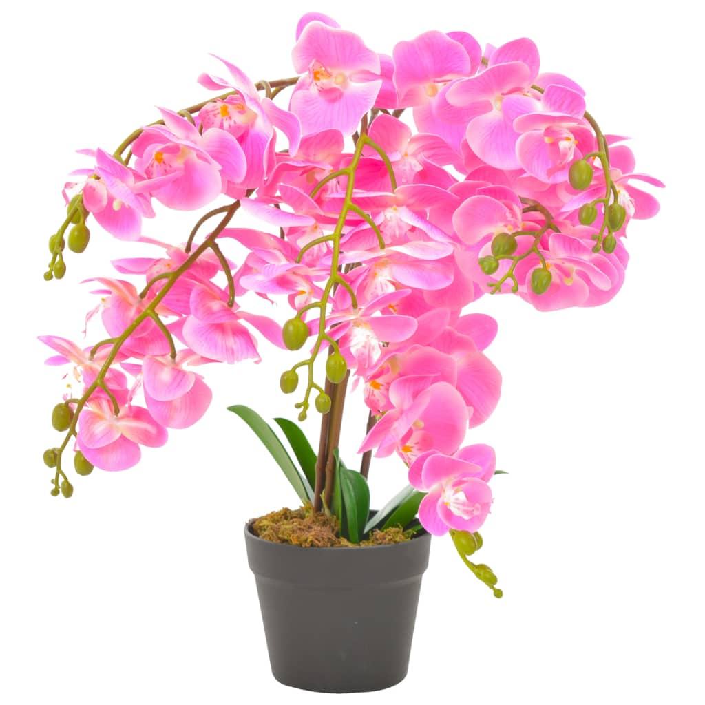 vidaXL Plantă artificială orhidee cu ghiveci, roz, 60 cm imagine vidaxl.ro