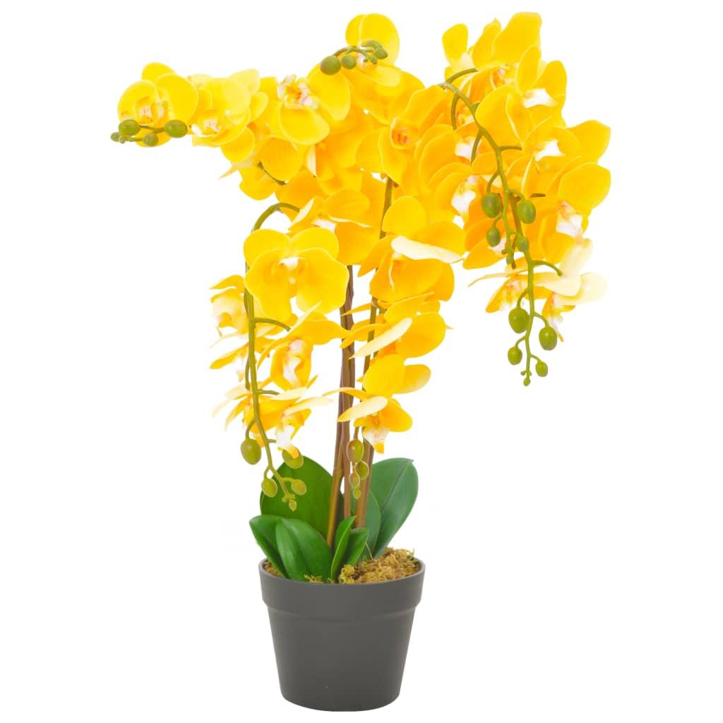 vidaXL Plantă artificială orhidee cu ghiveci, galben, 60 cm vidaxl.ro