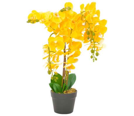 vidaXL Umetna rastlina orhideja z loncem rumena 60 cm