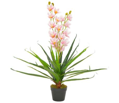 vidaXL Umetna rastlina orhideja z loncem roza 90 cm